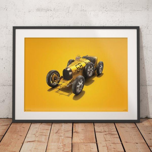 Bugatti T35 – Yellow – Targa Florio – 1928 – Colors of Speed Poster