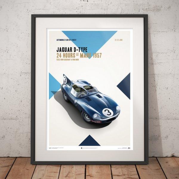 Jaguar D Type – Blue – 24h Le Mans – 1957 – Poster