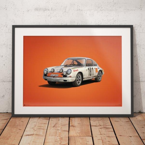 Porsche 911R – White – Tour de France – 1969 – Colors of Speed Poster