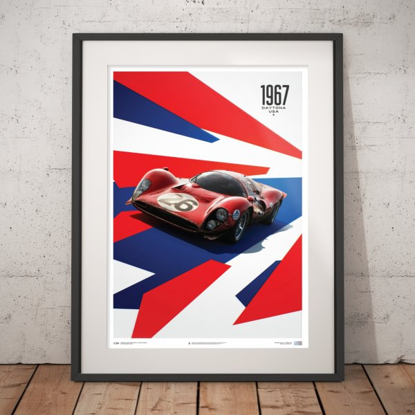 Ferrari 412P – Red – 24 Hours of Daytona – 1967 – Poster | Limited Edition