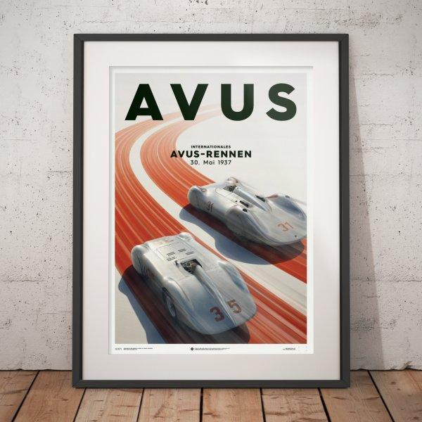 Mercedes Benz & Auto Union – Silver – Avus – 1937 – Poster