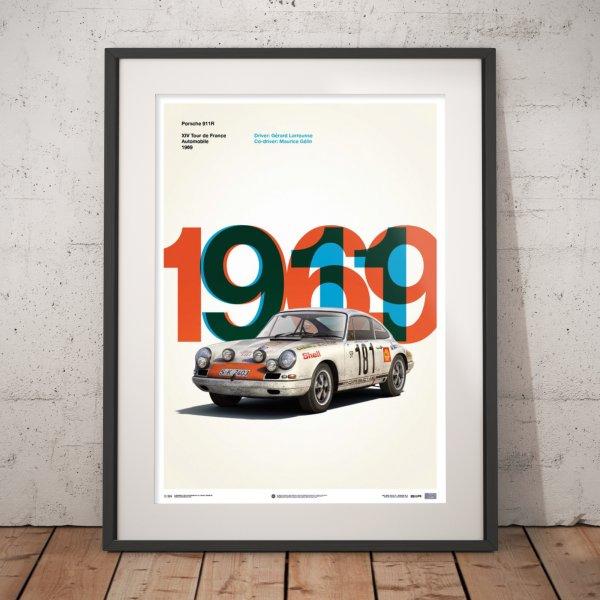 Porsche 911R – White – Tour de France – 1969 – Poster | Limited Edition