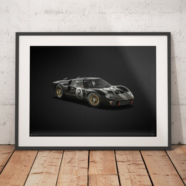 Ford GT40 – Black – 24h Le Mans – 1966 – Colors of Speed Poster