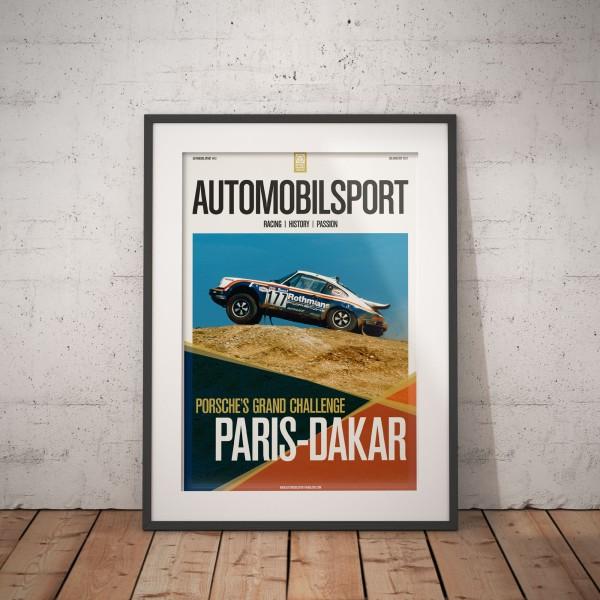 Poster AUTOMOBILSPORT #13 (2-seitig) – Porsches große Herausforderung Paris-Dakar