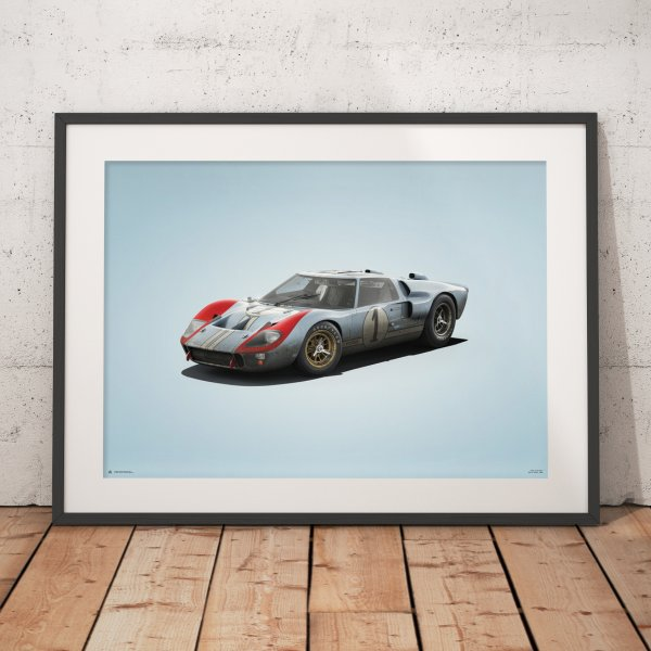 Ford GT40 – Blue – 24h Le Mans – 1966 – Colors of Speed Poster