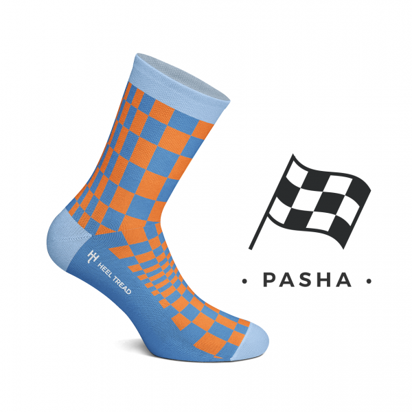 Heel Tread socks – Pasha orange/navy