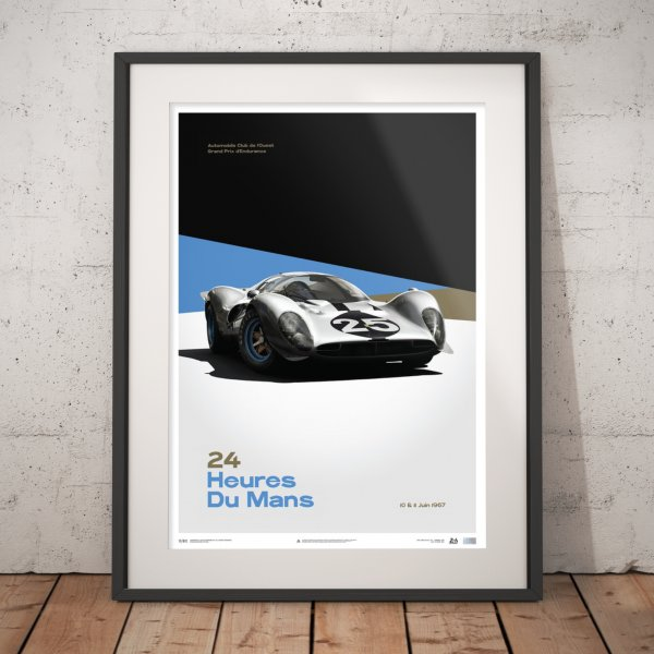 Ferrari 412P – White – 24 hours of Le Mans – 1967 – Poster | Limited Edition