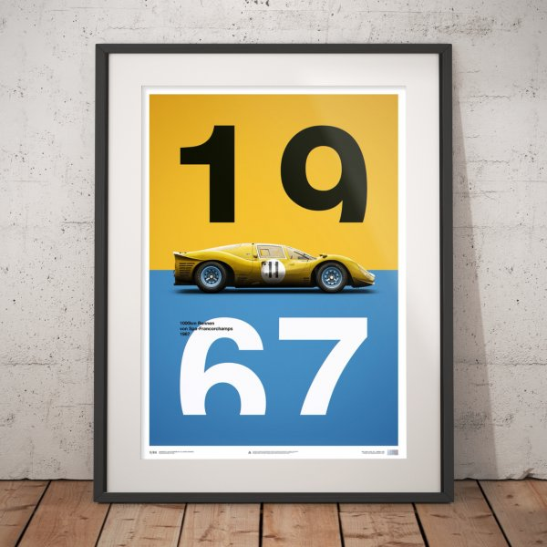 Ferrari 412P – Yellow – Spa-Francorchamps – 1967 – Poster | Limited Edition