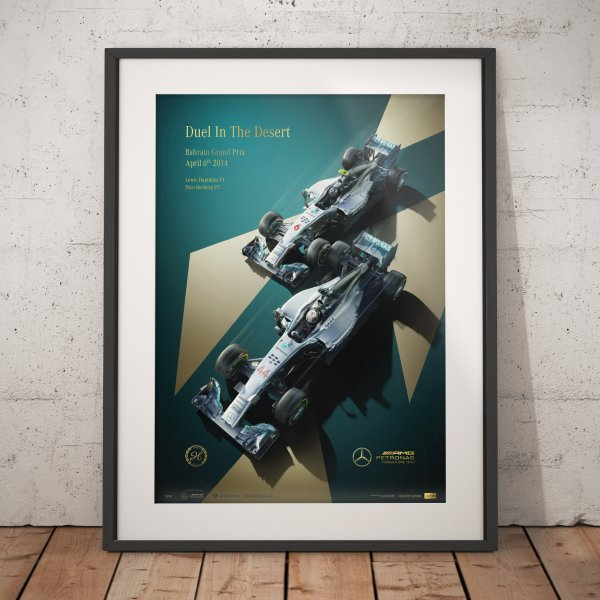 Mercedes-AMG Petronas Motorsport – 2014 – Duel In The Desert – Poster | Collector's Edition