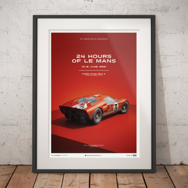 Ford GT40 – Dan Gurney – Red – 24h Le Mans – 1966 – Poster | Limited Edition