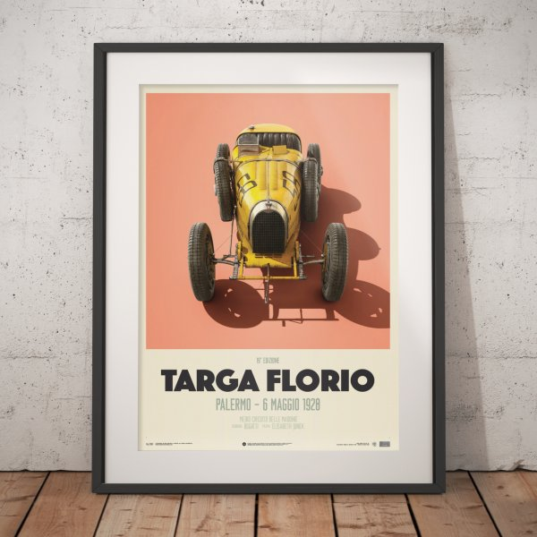 Bugatti T35 – Yellow – Targa Florio – 1928 – Poster | Limited Edition