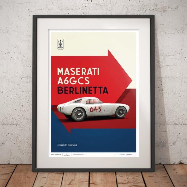 Maserati A6GCS Berlinetta 1954 – White – Poster | Limited Edition