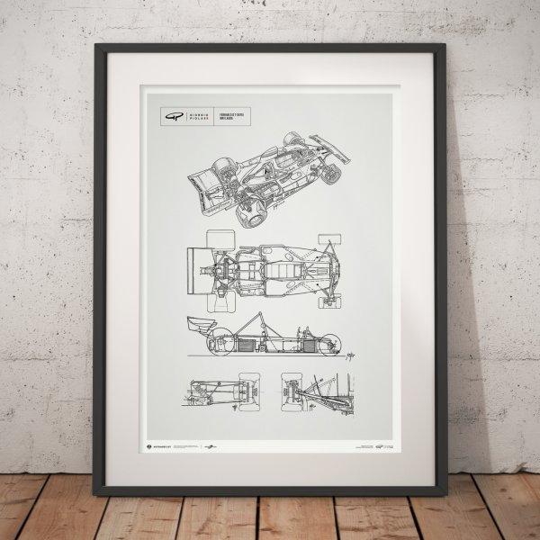 Giorgio Piola Technical Drawing – Ferrari 312 T – Niki Lauda – 1975 – Poster