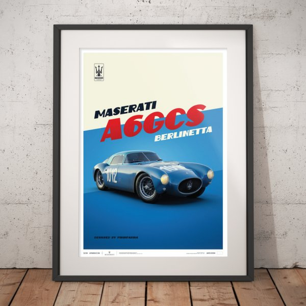 Maserati A6GCS Berlinetta 1954 – Blue – Poster | Limited Edition